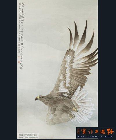 工笔画鹰 10P051号作品 郑路迅书画艺术空间 中国书画联盟